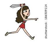 cartoon viking girl with sword | Shutterstock .eps vector #186509114