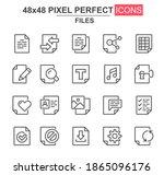 files thin line icon set....