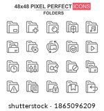 folders thin line icon set. add ...