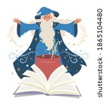 wizard  mage cooking potion in... | Shutterstock .eps vector #1865104480