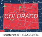 Colorado state detailed editable map with with cities and towns, geographic sites, roads, railways, interstates and U.S. highways. Vector EPS-10 file, trending color scheme