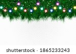 christmas tree branches with... | Shutterstock .eps vector #1865233243