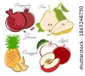 fruits  apple  pear  pineapple  ... | Shutterstock .eps vector #1865248750