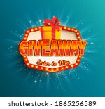 giveaway banner win poster with ... | Shutterstock .eps vector #1865256589