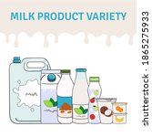 set of milk  dairy products and ... | Shutterstock .eps vector #1865275933