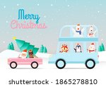 santa claus and gang of animal... | Shutterstock .eps vector #1865278810