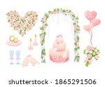 cartoon pink wedding decoration ... | Shutterstock .eps vector #1865291506