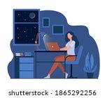 female designer working late in ... | Shutterstock .eps vector #1865292256
