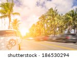 Miami beach , personal concept of a vintage car on Ocean drive