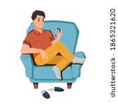 teenager boy uses smartphone ... | Shutterstock .eps vector #1865321620
