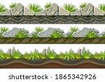 set of seamless border old gray ... | Shutterstock .eps vector #1865342926