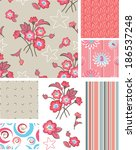 seamless floral rose patterns... | Shutterstock .eps vector #186537248