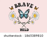 brave and wild butterfly daisy... | Shutterstock .eps vector #1865389810