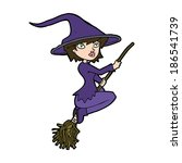 cartoon witch riding broomstick | Shutterstock .eps vector #186541739