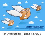 flying fast parcel package with ... | Shutterstock .eps vector #1865457079