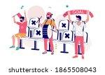 football fans in face masks... | Shutterstock .eps vector #1865508043
