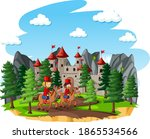 fairytale scene with castle and ... | Shutterstock .eps vector #1865534566