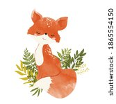 cute fox with leaves  vector... | Shutterstock .eps vector #1865554150