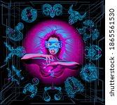 zodiac circle of the girl of...   Shutterstock .eps vector #1865561530