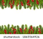 fir tree border with holly... | Shutterstock .eps vector #1865564926