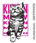 kitten with pink words on... | Shutterstock .eps vector #1865593450