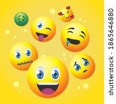 cartoon emojis icons over...   Shutterstock .eps vector #1865646880