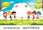 funny kids playing pulling rope | Shutterstock .eps vector #1865708566
