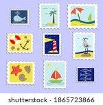 Set Of Postage Stamps. Vector...