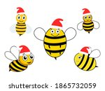 cute bees with santa hat set....   Shutterstock .eps vector #1865732059