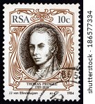 Small photo of SOUTH AFRICA - CIRCA 1984: a stamp printed in South Africa shows Thomas Pringle, Scottish Writer, Poet and Abolitionist, Father of the South African Poetry, circa 1984