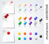set of push pins in different... | Shutterstock .eps vector #186580568
