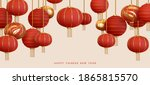 red hanging lantern traditional ... | Shutterstock .eps vector #1865815570