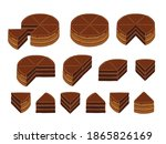 pieces of chocolate cake.... | Shutterstock .eps vector #1865826169