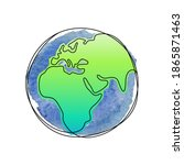 earth planet one line vector... | Shutterstock .eps vector #1865871463