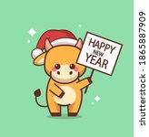 little ox in santa hat holding... | Shutterstock .eps vector #1865887909