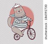 cat y bicycle  | Shutterstock .eps vector #186592730