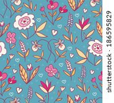 doodle flowers bright seamless... | Shutterstock . vector #186595829