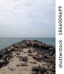 sea side view with rocks ...   Shutterstock . vector #1866004699