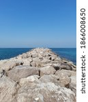 sea side view with rocks ...   Shutterstock . vector #1866008650