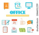 vector colored flat office icon ...