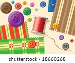 Sewing items - stock vector