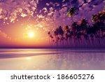 Coconut Palms At Purple Sunset...