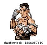 world thai boxing art it is an... | Shutterstock .eps vector #1866057610