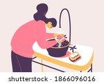 ocd woman cleaning hands.... | Shutterstock .eps vector #1866096016