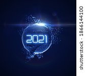happy new 2021 year. futuristic ... | Shutterstock .eps vector #1866144100