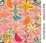 tropical pattern made with... | Shutterstock .eps vector #1866202306