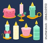 christmas candle. new year... | Shutterstock .eps vector #1866210553