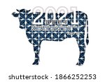 cow new year's card zodiac...   Shutterstock . vector #1866252253