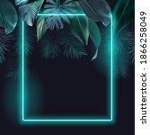 tropical elegant frame arranged ...   Shutterstock .eps vector #1866258049