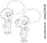 schoolchildren solve a problem | Shutterstock .eps vector #186625928